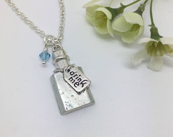 Drink Me - Alice in Wonderland inspired hand-painted charm necklace.