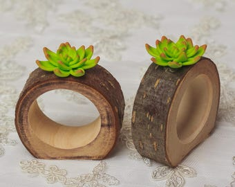 30 set Wood Rustic Napkin Rings Succulents wedding table decorations green Bridal shower party decor succulent place card plant napkin rings