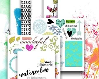 Watercolor Digital Paper Pack | Scrapbook Paper | Printable Background | 08 JPG, 300dpi files.