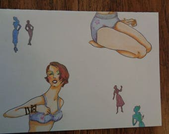 One Of A Kind Hand Drawn Women's Fashion Blank Greeting Card