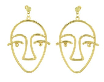 Picasso Face Wire Earrings, Gold  Face Earrings, wire Earrings, Witch Earrings, simple gold face earrings, cult fashion, gold face