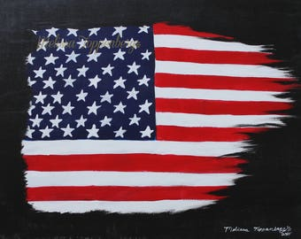ORIGINAL 4th Of July / Independence Day Flag Painting - FREE SHIPPING