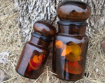 Set of Two Vintage Amber Jars with Lid, Belgium, Amber Glass Jars, Décor, Gift