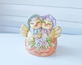 Vintage Pair of Birds Wearing Blue and Purple Bonnets-Chickens- in a Nest with Flowers-1985-Happy Easter-Vintage Farm-Nursey