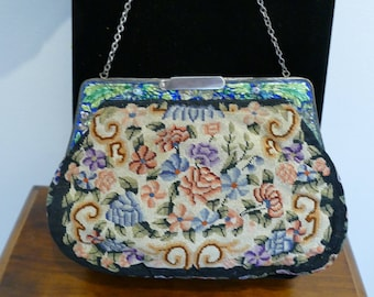 Exquisite 1930's Tapestry Evening Bag. A Vintage Treasure!