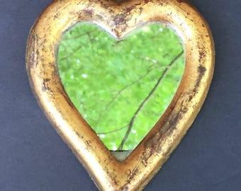 Vintage Florentine Heart Mirror--Gold Heart Mirror--Small Burnished Gold Mirror--Italian Heart Mirror