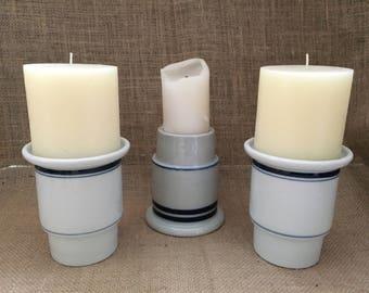 Dansk Christianshavn Blue Bistro Candle Holders--Set of 3 of Dansk Candle Holders--Blue and White Ceramic Candle Holders--Upclycled Planter
