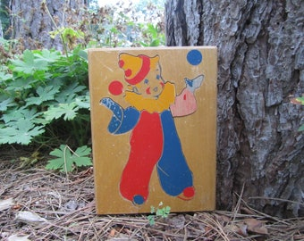 "Rare Vintage ""Clown"" ""Puzzle"" ""Wooden"" ""Circus"" Toy Boy Girl ""Juggling"" Balls Shabby Chic Baby Nursery Child's Room Whimsical Decor Art Gift"