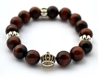 Mens bracelet Agate beads Natural Gemstone Mens Jewelry Gift for him