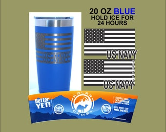 US Flag with US NAVY 20 ounce Engraved tumbler with lid Polar Camel