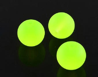 """Frosted Neon Yellow/Green 12mm Round Glass Beads (30"""" Strand)"""