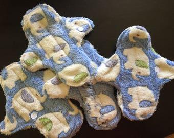 "8 inch Fleece ""White Elephants"" Cloth Pads"
