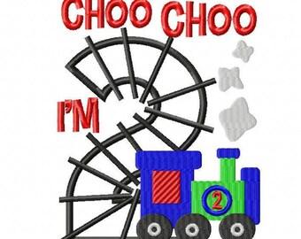 Choo Choo I'm 2 shirt,  Embroidered Toddler T-shirt, Embroidered T-shirt