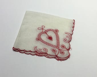 Vintage white and red heart hand-tatted handkerchief