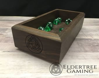 Premium Dice Tray - Personal Sized - Walnut with Felt or Leather Rolling Surface - Eldertree Gaming