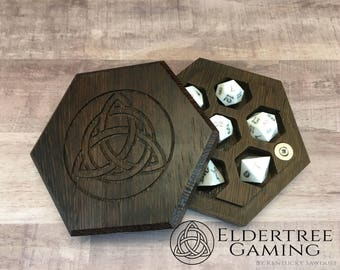 Premium Dice Vault - Hexagon Shape - Wenge - Eldertree Gaming