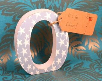 Dusky Blue with Stars Nursery Letters