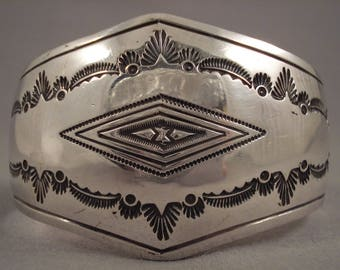 Convex Vintage Navajo Sterling Silver Bracelet Old Pawn