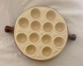 French Vintage Fish Plate Escargot Plate Ovenware Serving Dish Stoneware ( Ref no. A131 )