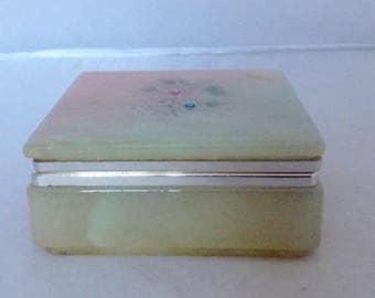 Onyx Cigarette Box Two Tone Decorative Trinket Jewelry Box Vintage ( Ref no. A202)
