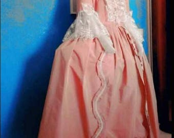 Marie Antoinette dress rococo sack back gown robe a la francaise colonial georgian  pink taffetà and lace