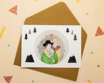 Jack & Ennis - Brokeback mountain - Printed postcard