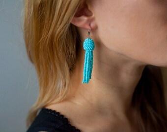 Earrings Oscar, Chandelier Earrings, long earrings, unusual earrings, beaded earrings, Oscar brush, earrings of brush, gift for her, Ukraine