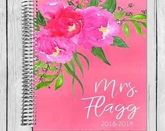18-19 Teacher Planner | | July 2018 - June 2019 Lesson Planner | Plan Book | Lessons | Record Book | Gift Spiral Calendar Agenda