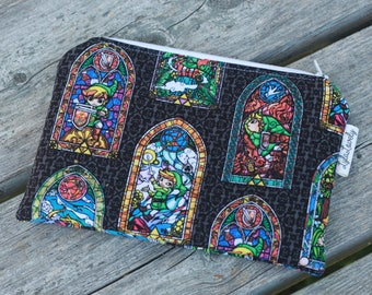 Legend of Zelda Flat Zip Top Notions Pouch, Zipper Pouch, Knitting or Crocheting Accessories Bag, Cosmetics Case, Pencil Case
