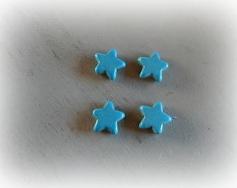 4 beads 14 mm blue howlite star
