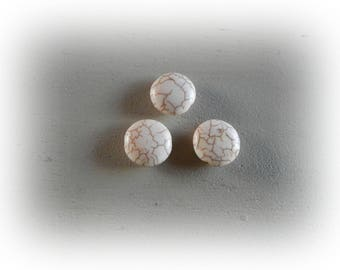 6 beads 15 mm ecru color howlite bead