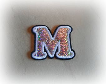 1 patch fusible patch / applique letter M alphabet in silver, white and black dimensions approx shades. : 5.5