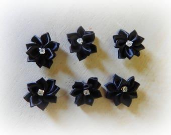 6 appliques 25 mm black satin ribbon flower