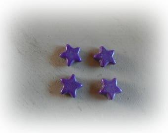 4 beads 14 mm purple howlite star