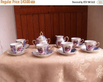 ON SALE Courting Couple Tea Set, Love Story Tea Set, Tea Set with Gold Accent
