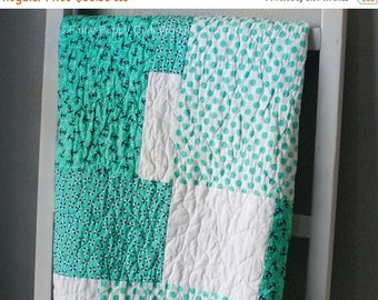 ON SALE Nautical Baby Quilt, Nautical Quilt, Toddler Quilt, Baby Quilt, Blue Baby Quilt, Green Baby Quilt, Nautical Blanket