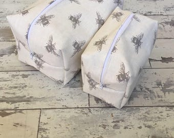 Handmade spring bee print cosmetic and wash bag set