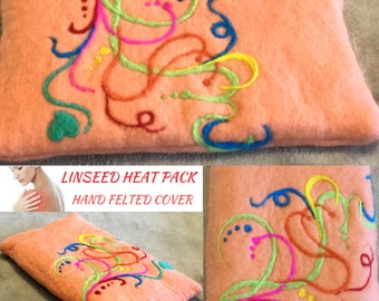 Apricot Organic Heating Pad, Needle Felted Heat Pack.