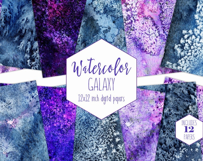 BLUE GALAXY WATERCOLOR Digital Paper Pack Commercial Use Ultra Violet Moon Rock Backgrounds Celestial Scrapbook Papers Watercolour Textures