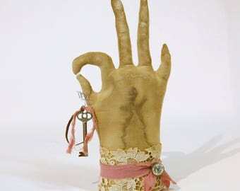 Folksy Primitive, Vintage Glove Hand Soft Sculpture