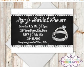 SALE Bridal Shower, Rings, Wedding Shower, Printable, Personalized Invitation, She Said Yes, #193