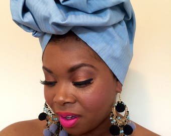 Denim Headwrap, Pre Made Tieless Head Wrap, Premade Chemo Headwrap, Stylish Turban,  Gele Wrap, Jean Headwrap