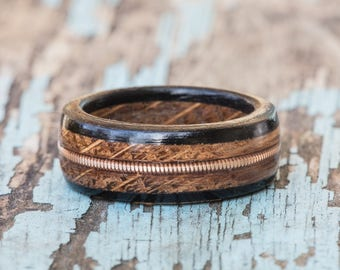 Whiskey Barrel and Ebony Wood Ring with Brass Guitar String Inlay - Tennessee Whiskey Barrel Wedding Band Mens Engagement Ring Anniversary