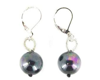 Black Fresh Water Pearl Piano Wire Earrings