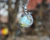Opal Opalite Dragon Healing Pendant on a Sterling Silver Chain ~ Opal Dragon Necklace ~ Healing Dragon Pendant ~ Opal Pendant ~ Gift for Her