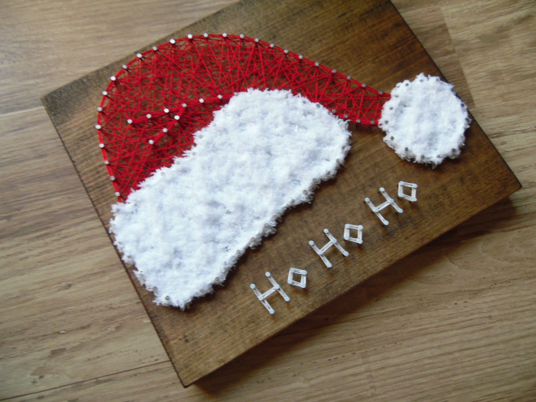 Santa string art santa hat string art ho ho ho string art - String art vorlagen kostenlos ...