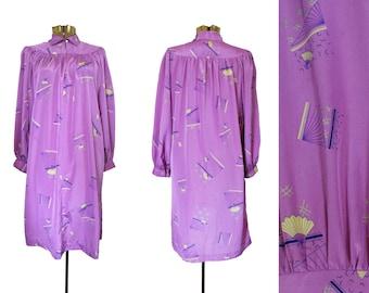 Vintage 70s Dress 70s Purple Dress Vintage Fan Print Dress Lightweight Summer Dress Long Sleeve Dress Vintage Lavender Dress 1970s Dress