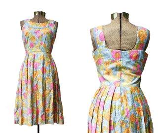 1950s 1960s Vintage Dress Floral Dress Vintage Dress Bright Floral Dress 60s Dress 1960s Floral Dress 50s Full Skirt Dress Summer Dress
