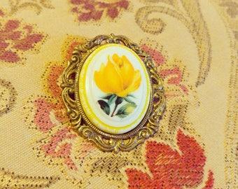 Yellow Rose Vintage Brooch