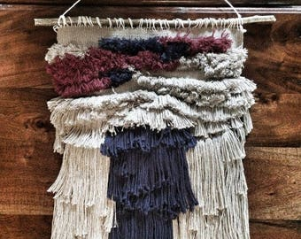 "WOVEN WALL HANGING ""FRINGE II"" IN 100% RECYCLED COTTON YARN"